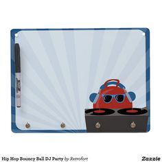 Hip Hop Bouncy Ball DJ Party Dry Erase Board With Keychain Holder