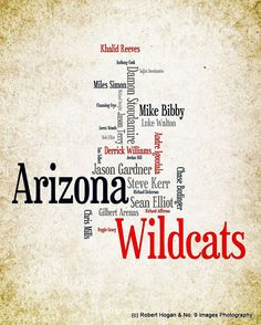 Arizona Wildcats - Greatest Basketball Players - 8x10 Word Cloud Art Print