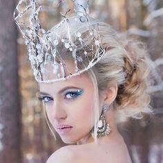 Beautiful dairy princess! Headdress, Headpiece, Ice Queen Costume, Snow Fairy, Queen Makeup, Ice Princess, Fantasy Costumes, Fire And Ice, Fantasy Makeup