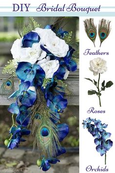 Create this beautiful Orchid & Peacock Feather Bridal Bouquet.   Cut stems to desired length, secure with floral tape, and finish with ribbon.  Find DIY bridal bouquet ideas on Afloral.com, as well as high-quality faux flowers and feathers.