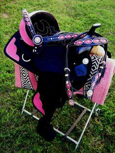 Western Cordura Trail Barrel Pleasure Horse SADDLE Tack Pink Corner 4934  I need this!!!!!!!!!!!
