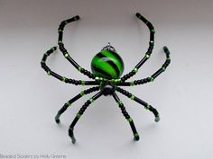 Green and Black Swirl Glass Beaded Christmas Spider Holiday
