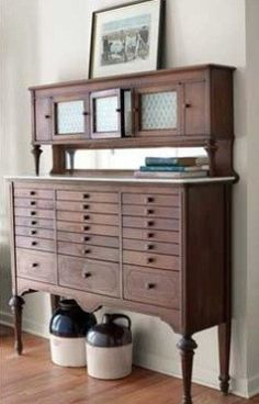 1930's Dentist Cabinet - Line the drawers with velvet separaters and it's Perfect for Jewelry. I know because I have a similar one that I adore!