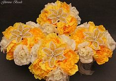 Amazon.com: YELLOW and Ivory Beaded Lily Bridal Wedding Flower 18 piece set with Peonies and Roses~ Unique French beaded flowers. Bouquets Corsages and Boutonnieres: Handmade