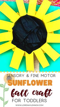 5 Sensory and Fine Motor Fall Crafts for Toddlers Sensory & Fine Motor Sunflower Fall Craft for Toddlers Fall Crafts For Toddlers, Easy Fall Crafts, Fun Crafts To Do, Thanksgiving Crafts For Kids, Toddler Art, Toddler Preschool, Toddler Crafts, Toddler Activities, Kids Crafts