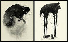 Wolf Battle & Wolf Legs. Dan Burgess Art