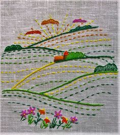 Simple landscape, embroidery