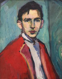 Hermann Stenner (German, 1891-1914), Selbstporträt mit roter Jacke [Self-portrait in red jacket], 1911. Oil on board, 50.5 × 40 cm.