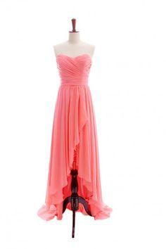 Charming strapless high-low chiffon dress.