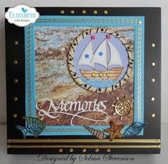 Selma Stevenson transformed her card into a keepsake box! The sentiment used comes from Suzanne Cannon, A Way With Words' Memories. The background of the card is a design from Through the Lens (Stone) and Colored Soft Finish Cardstock. Selma also used Els van de Burgt Studio's Fitted Circles, Bead Strings 2, and Dotted Scallop Circles, as well as Peel-Off Stickers, Clear Double Sided Adhesive, Shimmer Sheetz, Silk Microfine Glitter, and Joset Designs' Boat and Shells Small.