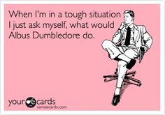 Well, I'm not very well going to ask myself What Would Voldemort Do?