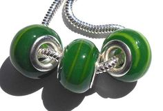 Set of 2 European Style Beads Green with Light by GodivaJewels, $1.95