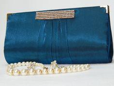 Bolsa Carteira Festa Luxo Azul Brilho
