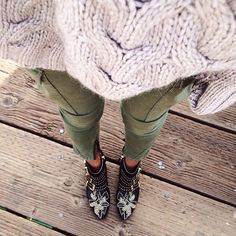 chloe boots, olive pants, cream sweater