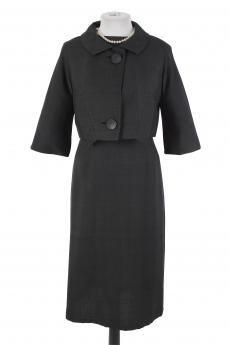 Vintage 50s Black Dupioni Silk Dress & Jacket
