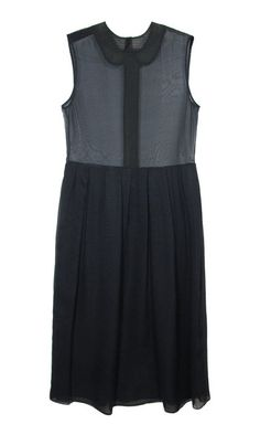 Black collared sheer sleeveless dress by Araks. #style #fashion
