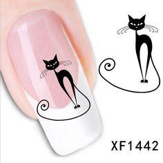 Cute Black Cat Nail Sticker Art