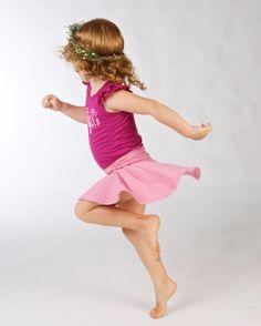Bamboo full circle Twirl Skirt, and magenta frill top Doodlebug Summer 2014 www.ilovedoodlebug.com.au