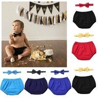 1st Birthday Baby Boy Cake Smash Bloomers Bow Tie Outfits Photography Photo Prop
