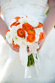 orange white wedding bouquet