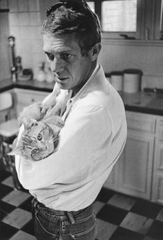 King of Cool Kitty Porn - Steve McQueen with Kitty Kat. Los Angeles, 1963.
