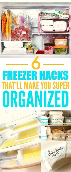These 6 Organization Freezer Hacks are THE BEST! I'm so happy I found these AMAZING tips! Now my freezer will finally be clutter free! I'm SO pinning for later!