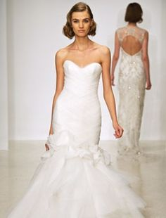 Sweetheart Mermaid Wedding Dress  with Dropped Waist in Silk. Bridal Gown Style Number:32592438
