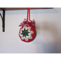 This beautiful handcrafted quilted ornament is designed with the traditional star. I used red, green, white Christmas fabric. Handcrafted Christmas Ornaments, Handmade Christmas, Fabric Ornaments, Ball Ornaments, Christmas Fabric, White Christmas, Glass Ball, Holiday Decor, Green
