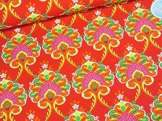Stoffe gemustert - Baumwolljersey  DAYDREAM Ornamente rot - ein Designerstück von marlindas_stoffhaeuschen bei DaWanda Designer, Etsy, Vintage, Craft Gifts, Fabrics, Red, Cotton, Jewerly