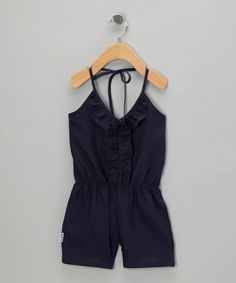 Take a look at this Navy Ruffle Romper - Infant, Toddler & Girls on zulily today!