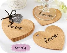 order Heart Cork Coaster Set Favors - favors for weddings - coupon code is freeshipping