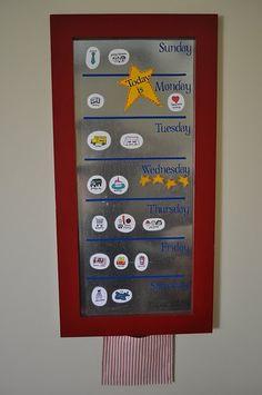 """What's Up Weekly Board"" -- this helps preschoolers understand the timeline of the week"