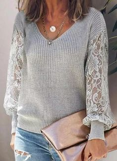 Fall Fashion Outfits, Chic Outfits, Latest Fashion For Women, Womens Fashion, Fashion Online, Clothes Refashion, Lace Sweater, Casual Sweaters, Cardigans For Women