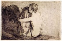 Consolation, 1894 - Edvard Munch, etching, drypoint