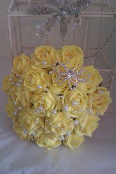 Artificial Wedding Bouquet Lemon Roses with Pearls  Diamantie Brooch £49.00