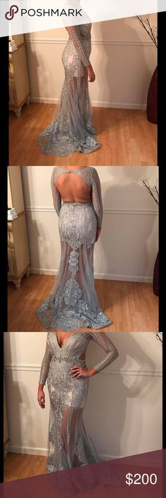 "MacDuggal Prom Dress Beautiful dress the lining is a romper worn 1x in excellent condition. Light blue with Gold stones dress is floor length 5'9"" wearing flat sandals MacDuggal Dresses Prom"