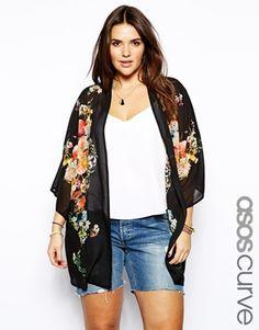 Image 1 of ASOS CURVE - Exclusive Kimono with botanical print