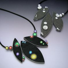 Dot Necklace by Judy Belcher, polymer clay.