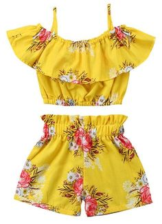 Toddler Kids Baby Girl Floral Halter Ruffled Outfits Clothes Tops+Shorts Set Image 1 of 6
