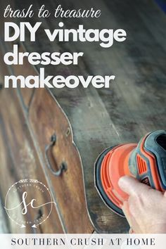 Do you have an old dresser that you want to bring back to life? Learn how to transform any piece of furniture with this DIY vintage trash to treasure dresser makeover!  #dresser #makeover #DIY Vintage Dressers, Old Dressers, Diy Dresser Makeover, Furniture Makeover, Java Gel Stains, White Painted Furniture, Paint Line, Easy Diy, Simple Diy