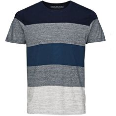 STRIPED T-SHIRT Jack Jones (69 BRL) ❤ liked on Polyvore featuring men's fashion, men's clothing, men's shirts, men's t-shirts, mens cotton shirts, mens tall shirts, mens slim fit shirts, mens tall t shirts and mens striped shirt