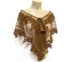 On Sale, Lace Shrug, Lace Capelet, Scarf, Free Shipping, Lace Shawl, Brown, Feminine Shawl, French Lace Shawl, Spring bride, Spring wedding