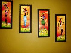 Acrylic Painting Lessons, Acrylic Art, Acrylic Painting Canvas, Painting Of Girl, Mural Painting, African Art Paintings, Arte Tribal, Art Africain, Africa Art