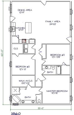 barndominium floor plan 3 bedroom 2 bathroom 35x60