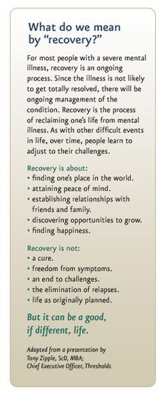 """Such extraordinarily clear and concise words about what """"recovery"""" from the challenges of mental illness entails. There is still so much misinformation in our global society and in our own backyards regarding the nature of mental illness. Mental Illness Recovery, Severe Mental Illness, Mental Health Recovery Quotes, Mental Illness Definition, Mental Illness Facts, Addiction Recovery Quotes, Codependency Recovery, Ptsd Recovery, Coaching"""