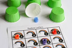 A rainbow alphabet activity to work on lowercase and uppercase letter matching.