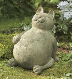 Crafted by Philippine artisans of volcanic ash, pumice and natural stone from one of Mount Pinatubo's biggest eruptions, this chubby kitty is weather-resistant and sure to bring a sense of well-being to your yard or garden.