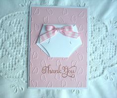 "Thank You Baby Girl Diaper Handmade Card with Embossed Baby Footprints ""Thank You For The Baby Gift"" Message Inside Diaper/Baby Shower/Gift on Etsy, $3.75"