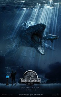"""Jurassic World (2015) Poster """"Lots of action and adventure, and solid humor and comic relief, with a little shot of romance -- The perfect cocktail for an entertaining movie""""."""