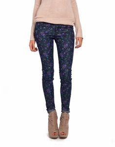 floral jeans + blush knit